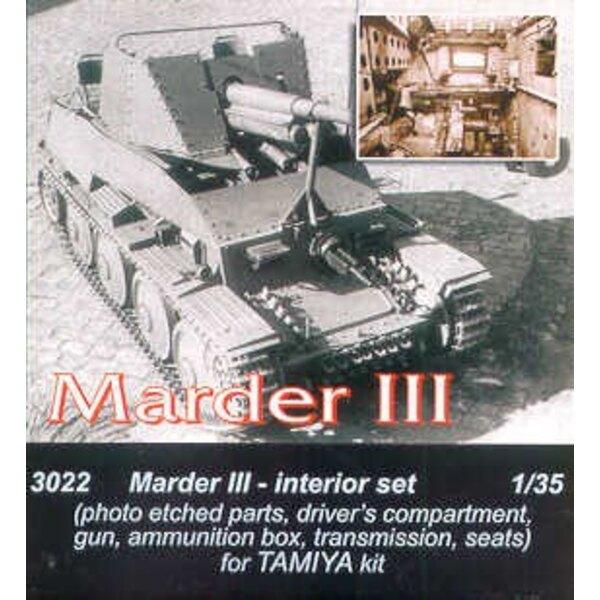 intérieur de Marder III. caisse de munitions de canon, compartiment de conducteurs en pièces photodécoupées et sièges (pour maqu