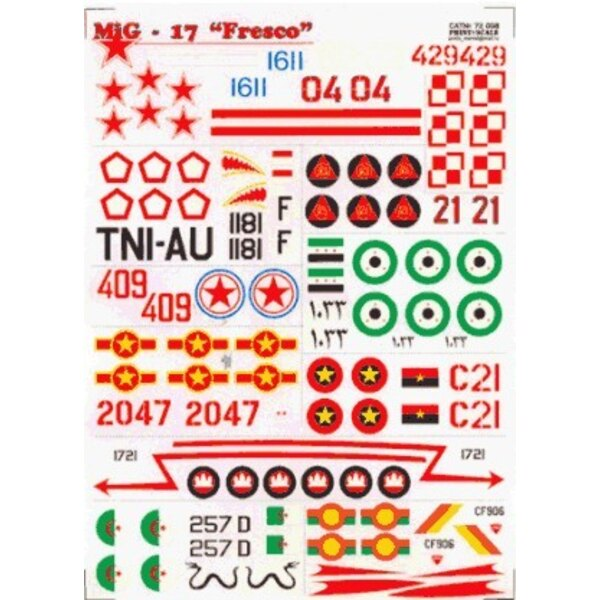 Décal Mikoyan MiG-17 Fresco (13) White 02 Blue 1611 Red 04 all Russian Red 429 Poland Black 1181 Indonesia Red 21 Mosambique Egy