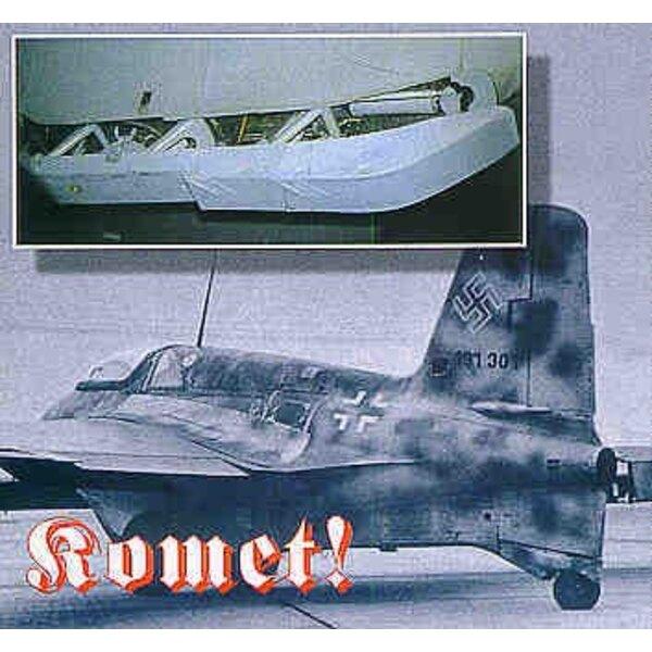 Messerschmitt Me 163B : détails. Pièces photodécoupées, verrière en vacuform, nouveau cockpit, volets, mitrailleuse MG151 (pour