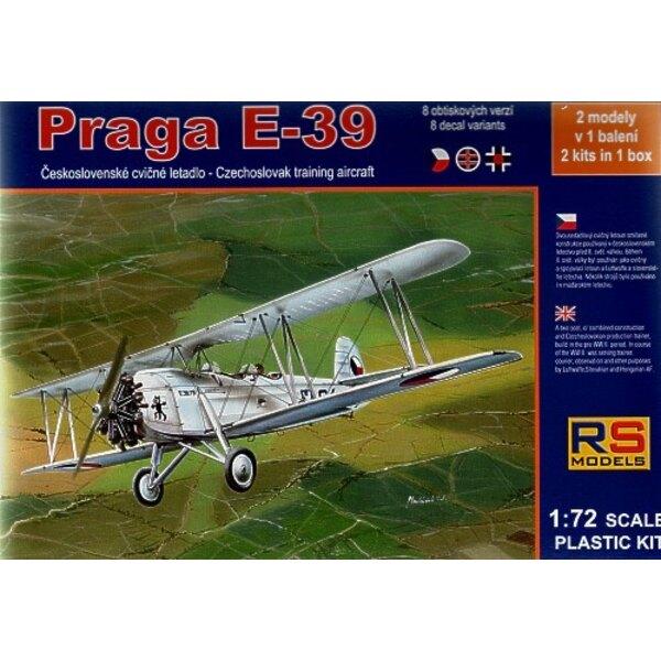 Praga E-39 Cz. Avion d'entraînement. 2 maquettes dans la boîte, 8 variantes de décalques tchèques et slovaques 1ère GM