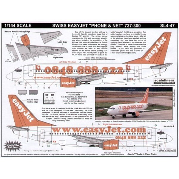 Boeing 737-300 EasyJet HB-IIB Web site and Swiss Phone Number combo