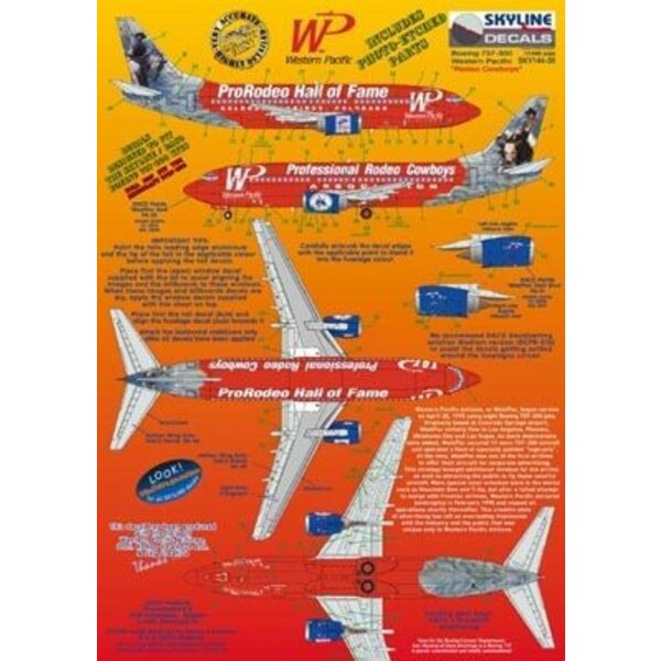 Boeing 737-300 WP Western Pacific N375TA ProRodeo Hall of Fame/Professional Rodeo Cowboys includes photo etch parts.Designed to