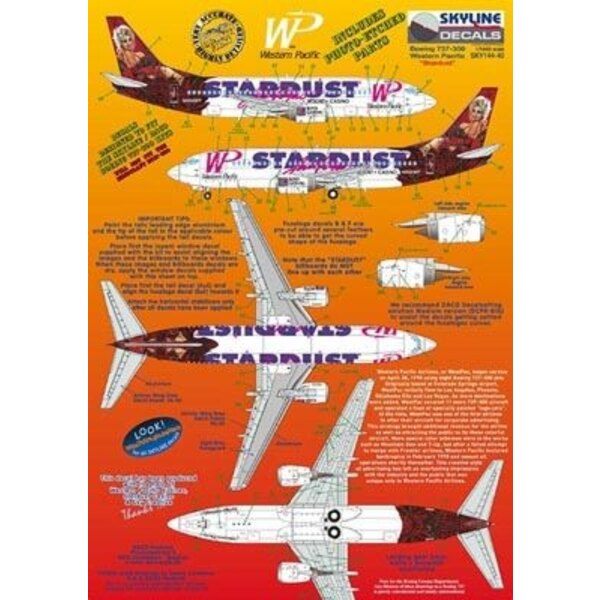 Boeing 737-300 WP Western Pacific N950WP Stardust Las Vegas includes photo etch parts. Designed to fit Skyline kit SKY4403A