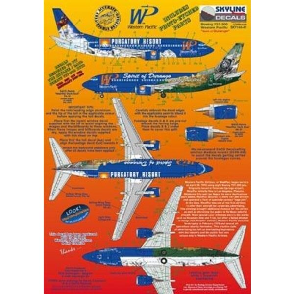 Boeing 737-300 WP Western Pacific N946WP Spirit of Durango/Purgatory Resort includes photo etch parts. Designed to fit Skyline k