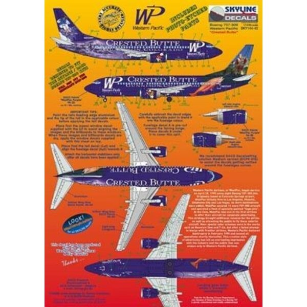 Boeing 737-300 WP Western Pacific N953WP Crested Butte includes photo etch parts. Designed to fit Skyline kit SKY4403A