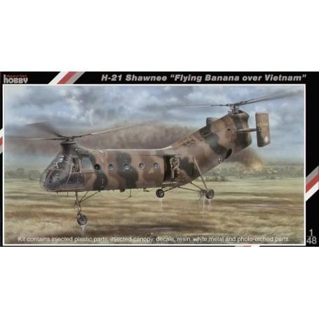 H-21 'Flying Banana' l'hélicoptère US au rotor double H-21 a été utilisé par beaucoup d'aviations partout dans le monde. Il a se