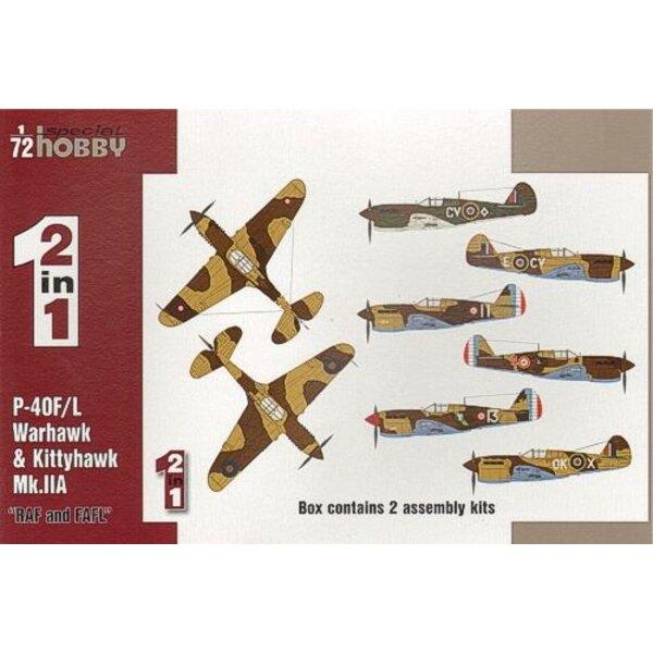 Curtiss P-40F/L & Kittyhawk Mk.RAF d'IIA et FAFL. 2 maquettes complètes dans une boîte. L'Avion de chasse P-40Fs propulsé par le
