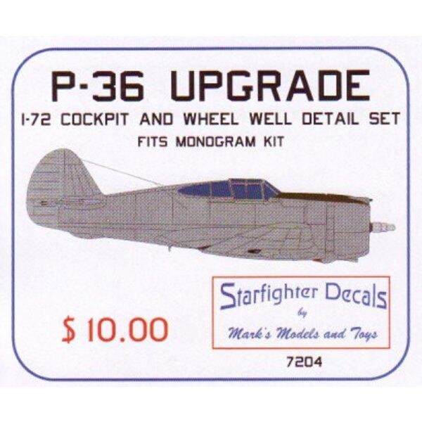 Kit d'upgrade de Curtiss P-36 Hawk (pour maquettes Monogram) Ce kit de 9 pièces inclut un cockpit et des logements de roues