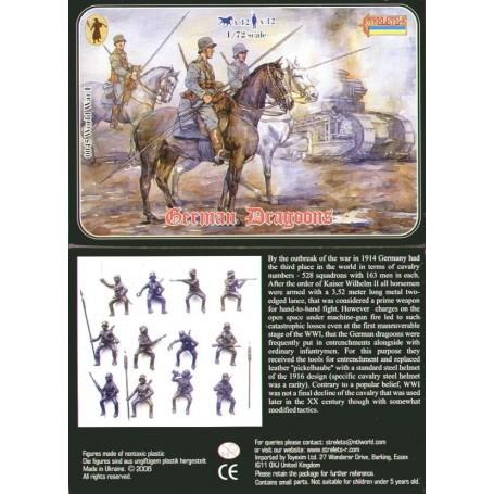 Dragons allemand 1ère GM. 12 figurines et 12 chevaux. Tous différents.