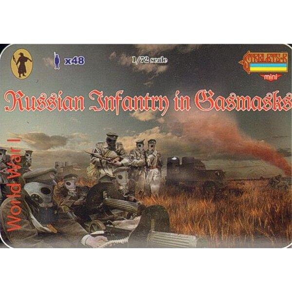 Infanterie russe de la 1ère GM avec masques à gaz