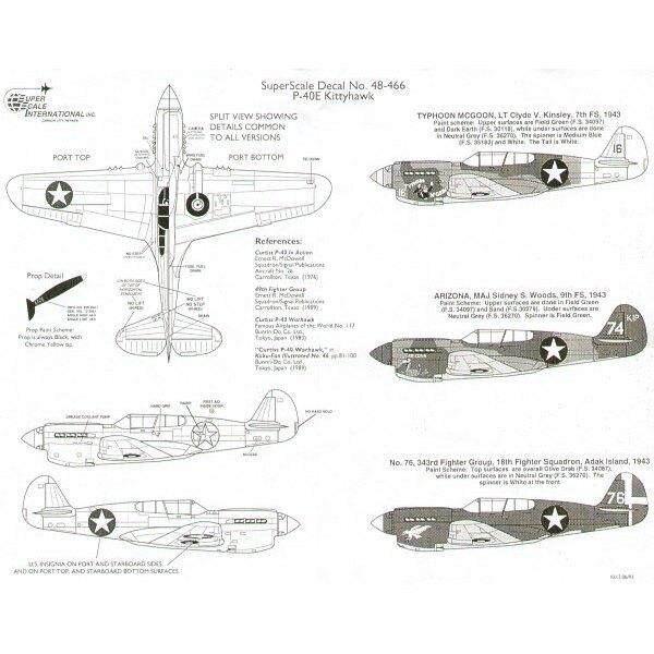 Curtiss P-40E Tomahawk/Warhawk (3) No 16 7FS 1943 Lt C.V.Kinsley 'Typhoon McGoon' No 74 9FS Maj S.S.Woods 'Arizona' No 76 18FS 3