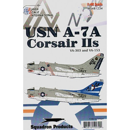 Décal USN Vought A-7A Corsairs IIs VA-303 and VA-153 (2) Gull Gray over White US Navy aircraft: BuNo 153238 VA-303 'Golden Hawks