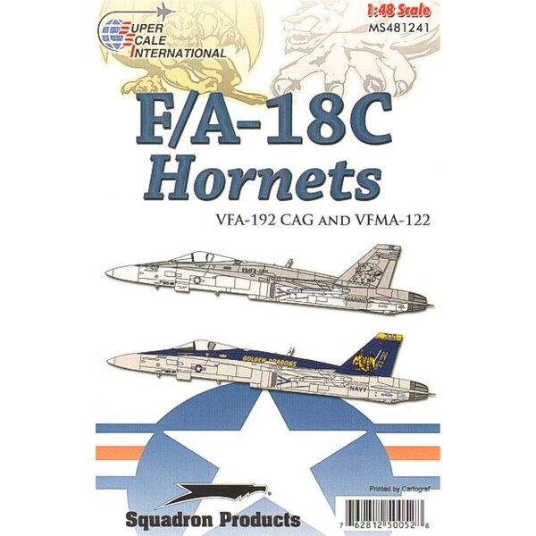 McDonnell Douglas F/A-18C VMF-A-122 & VFA-192 McDonnell Douglas F/A-18C Hornets VMFA-122 and VFA-192 Decals for 2 aircraft: US M