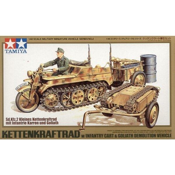 Kettenkrad avec le chariot Goliath. Inclut aussi des fusils , caisses de munitions, bidon d'essence, lance grenade, de barre