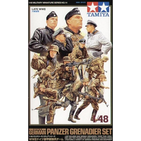 Panzergrenadier set WWII. Includes 9 Grenadiers 3 tank crew 2 light vehicle crew and a variety of firearms and equipment.