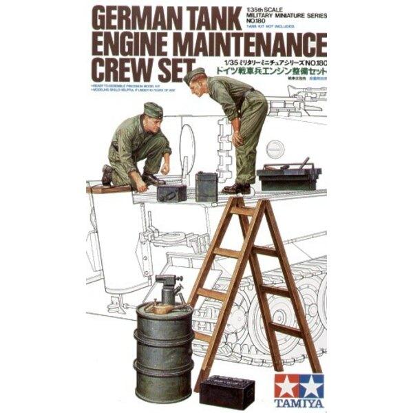 Équipage de char allemand entretenant un moteur