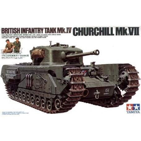Churchill Mk.VII : inclut 3 membres d'équipage, 1 figurine de fermier européen et un petit chariot à 4 roues
