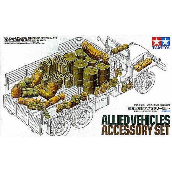 Set d'accessoires pour véhicules alliés : jerricans , bidons d'essence etc.