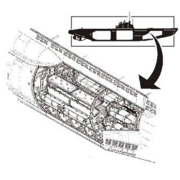 Intérieur de U-boot de type VIIc : section des torpilles (pour maquettes Revell)