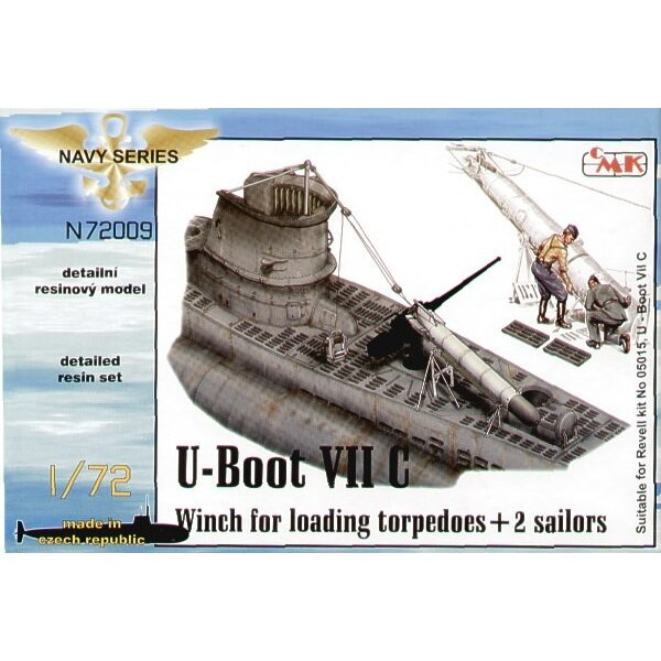 U-Boat Type VIIc winch for loading torpedos loading rollers and torpdeo (designed to be assembled with model kits from Revell)