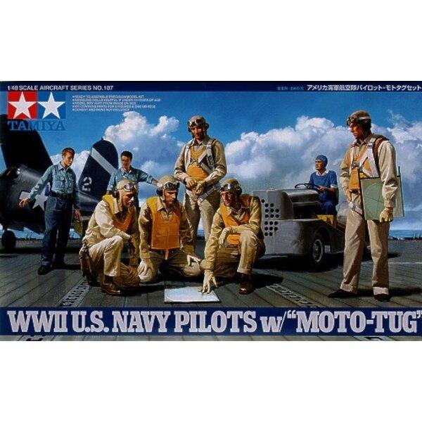 Pilotes de l'US Navy de la 2ème GM x 5. Equipage de pont USN x 3 et tracteur/remorqueur d'avion