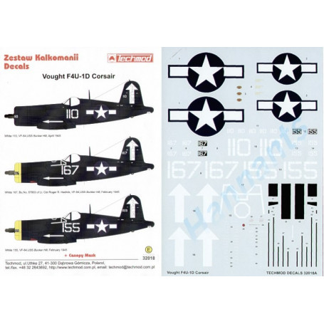 Décal Vought F4U-1D Corsair (3) White 110 White 167 White 155. All VF-84 USS Bunker Hill 1945 with large white arrow on fin and
