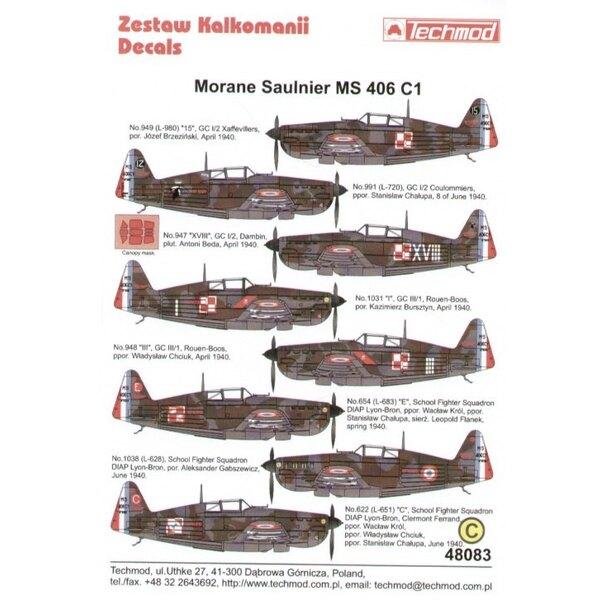 Décal Morane Saulnier MS 406 C1 Armee d l'Air flown by Polish pilots 1940.(8) L980 GC 1/2 Josef Brzezinski L720 GC 1/2 S.Chalup