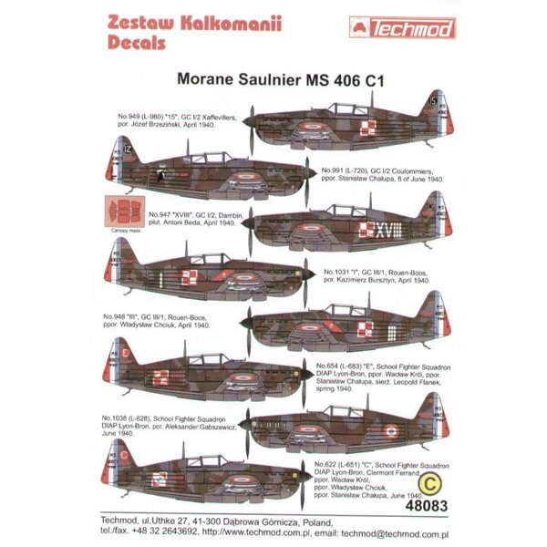 Morane Saulnier MS 406 C1 Armee d l′Air flown by Polish pilots 1940.(8) L980 GC 1/2 Josef Brzezinski L720 GC 1/2 S.Chalupa No 94