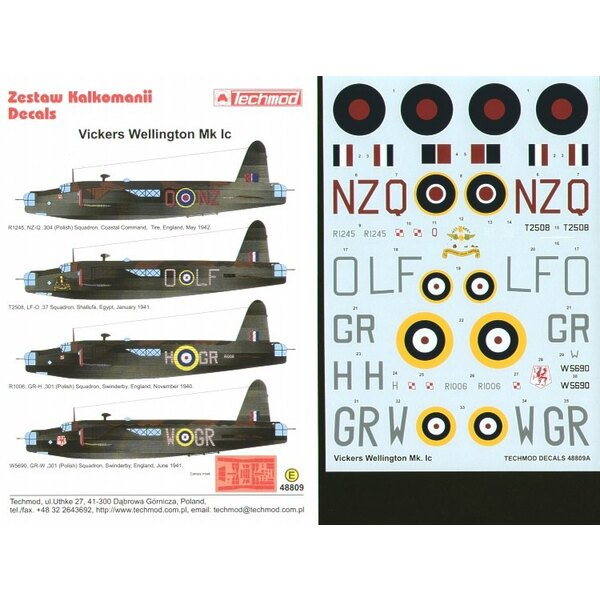 Vickers Wellington Mk.Ic (4) R1245 NZ-Q 304(Polish) Sqn T2508 LF-O 37 Sqn Egypt R1006 GR-H and W5690 GR-W both 301(Polish) Sqn S