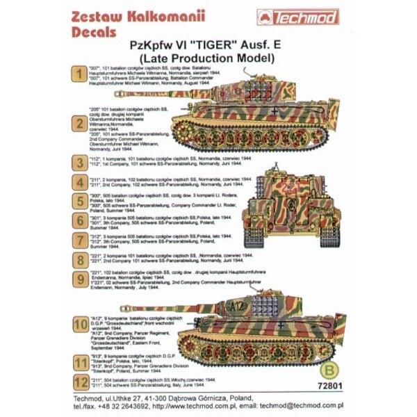 Pz.Kpfw.VI Tiger Ausf.E Late Production models. Markings for 12 Tigers in various camouflages Normandy Poland and Russia