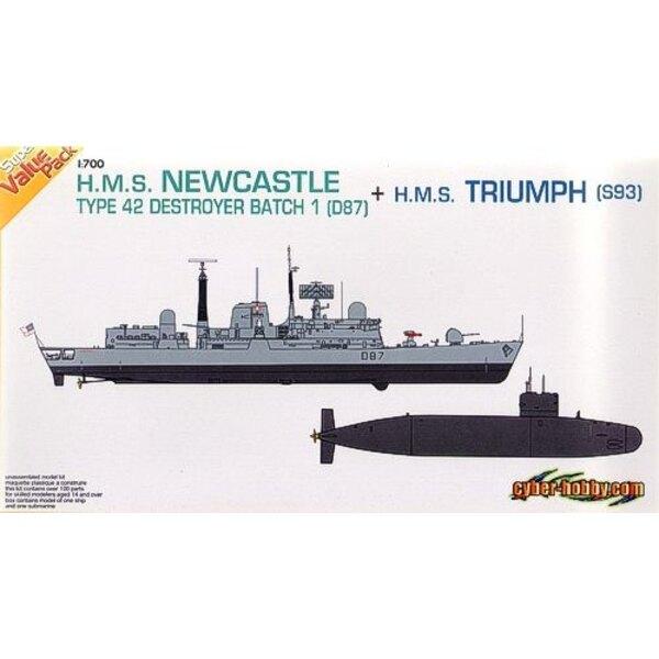 HMS Newcastle (D87) et HMS Triumph (S93)