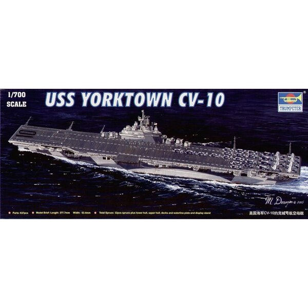 USS Yorktown CV-10 aircraft carrier. with lower hull upper hul waterline plate and vacform sea water base