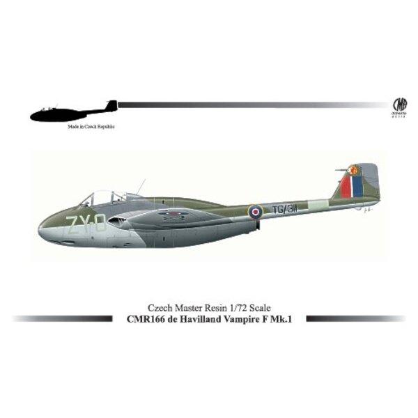 de Havilland Vampire F.1 (nouveau moule). Décalques de Havilland Vampire F.1 - TG/311 ó 'ZY-O' No. 247 du RAF d'Escadron Odiham