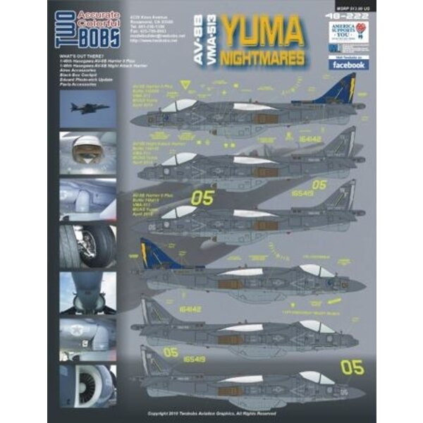 Décal McDonnell Douglas AV-8B Harrier Yuma Nightmares. The first sheet in decal form that captures the new gunship gray scheme t