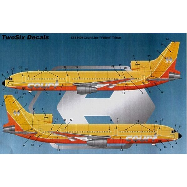 Lockheed Tristar COURT Line G-BAAA Halcyon Days yellow/orange fuselage