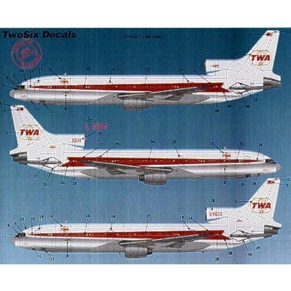 Lockheed L-1011 Tristart TWA Trans World Airways. All registrations