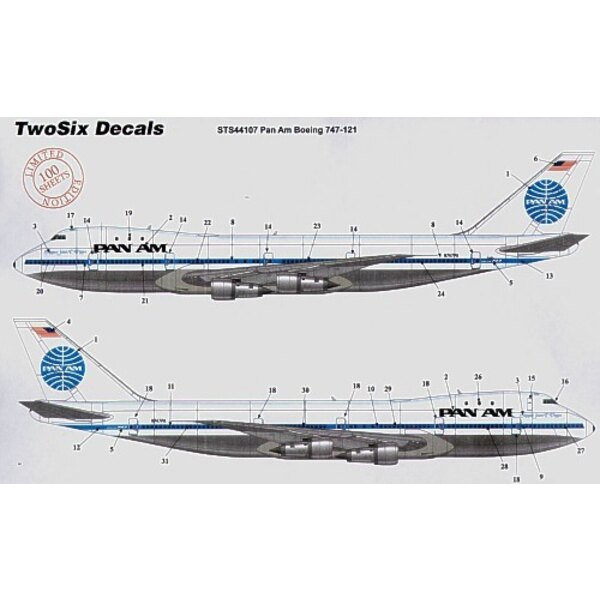 Boeing 747-121 PAN AM medium black letteringey. 9 registrations and names
