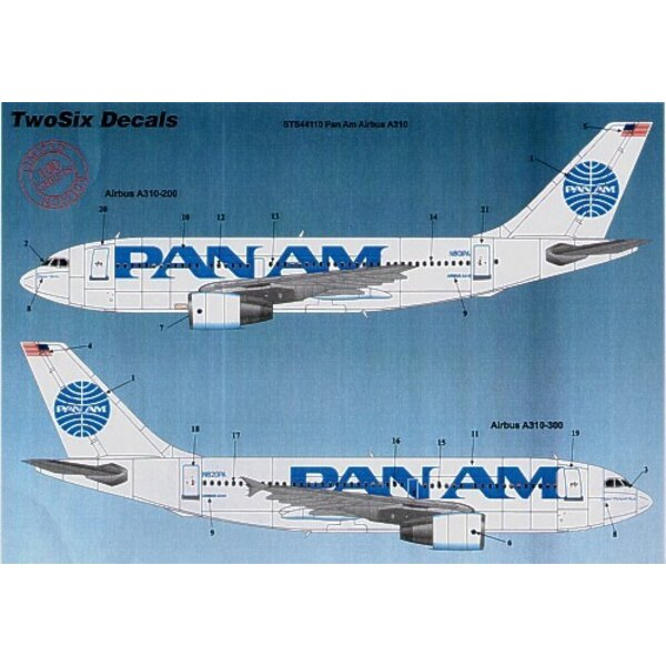 Airbus A310 PAN AM Billboard 10 Registrations N801PA etc