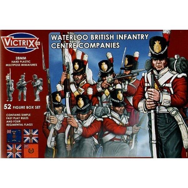 Compagnies centrales britanniques : Waterloo. 52 figurines individuelles incluant sous-officiers, porte-drapeaux, officiers et