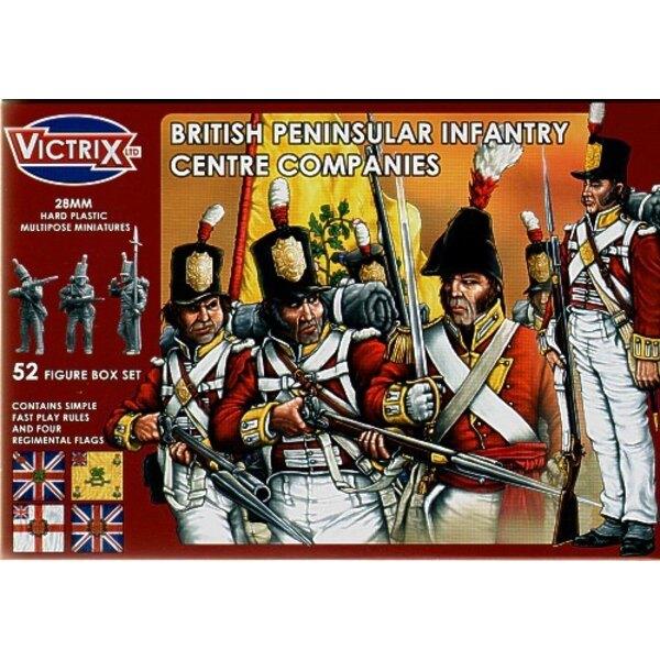 Compagnies de centre britanniques : guerre de la Péninsule. 52 figurines individuelles incluant sous-officiers, porte-drapeaux,
