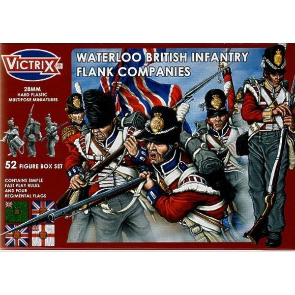 Compagnies de Flanc britanniques : Waterloo. 52 figurines individuelles incluant sous-officiers, porte-drapeaux, officiers et