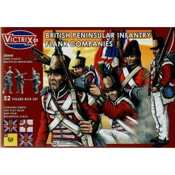 Compagnies de Flanc britanniques : guerre de la Péninsule. 52 figurines individuelles incluant sous-officiers, porte-drapeaux,