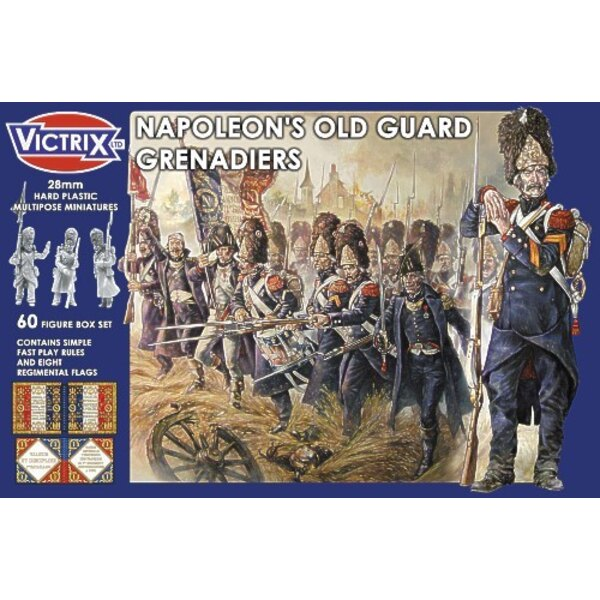 French Napoleonic Imperial Guard Grenadiers (60 Hard plastic multipose miniatures fast play rules and 8 regimental flags)