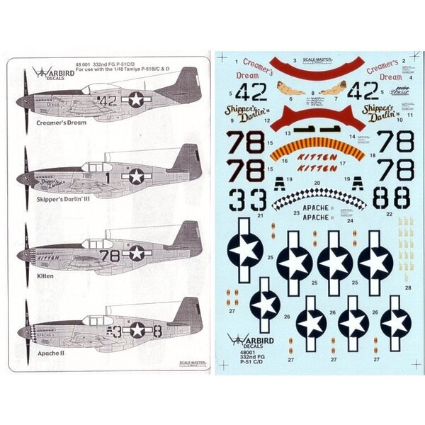 Tuskegee Red Tailed Mustangs Part 1. (4) North American P-51C No A3-8 89 FS Lt Henry Perry `Apache II' No 78 302 FS Lt Charles M