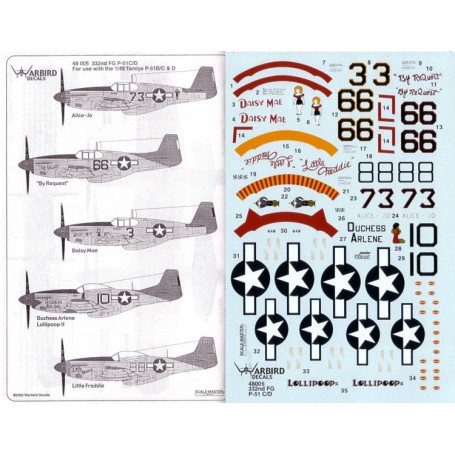 Décal Tuskegee Red Tailed Mustangs Part 3. (5) North American P-51C No 66 100 FS Lt Col Benjamin Davis `By Request' No 10 100 FS