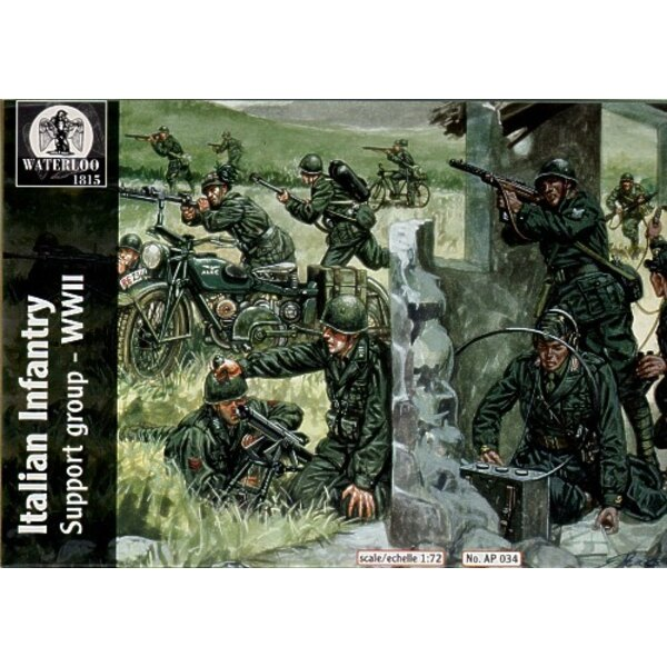 Italian Infantry Support Group (34 pieces) Includes 2 each motorbike radio operators machine gun crew bycycle and rider etc