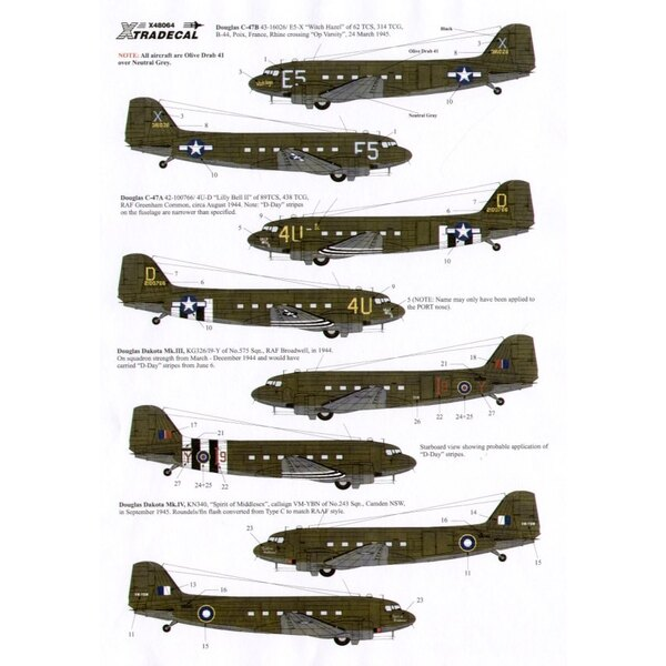Douglas C-47 Dakota Skytrain/Dakota (4) 43-16026 E5-X 62 TCS `Witch Hazel′ Rhine crossing 3/1945 42-100766 4U-D 89TCS `Lilly Bel