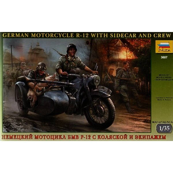 German WWII BMW R 12 Motorcycle with sidecar and crew and pig.