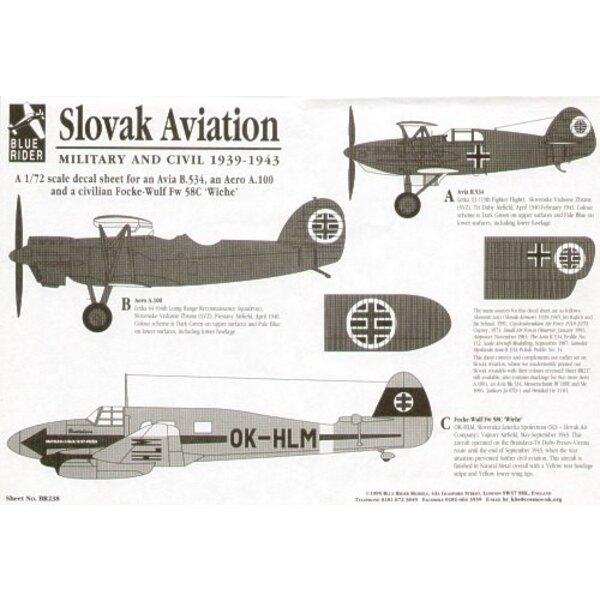 Slovak Aviation (3) Aer A.100 1940 Avia B-534 1940/41 Focke Wulf Fw 58C OK-HLM 1943