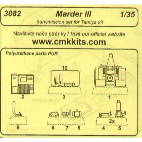Set de transmission de Marder III. Contient boîte de vitesses en détail incluant son écoutille (pour maquettes Tamiya)